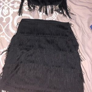 2 piece fringe skirt set